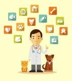 Doutor veterinário e ícones ajustados Foto de Stock Royalty Free