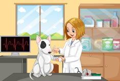 Doutor veterinário Helping um cão ilustração royalty free