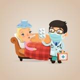 Doutor Visits uma mulher doente Imagens de Stock
