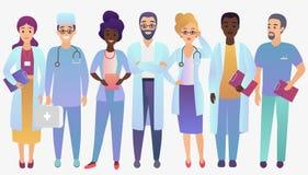Doutores da equipe médica no estilo fradient na moda da cor isolados ilustração do vetor