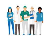 Doutores e assistente em um vestido de molho com um estetoscópio isolado em um fundo branco doutor sem uma cara Illustra do vetor ilustração stock