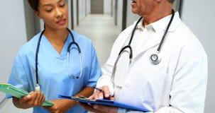 Doutores que interagem um com o otro no corredor video estoque