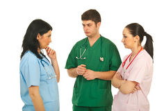 Doutores tristes que têm a conversação Foto de Stock