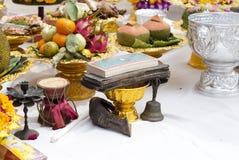 Doutrina da Buda usada em uma cerimônia em um templo foto de stock royalty free