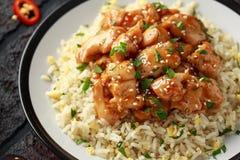 Doux de poulet orange et aigre épicés avec du riz d'oeufs au plat Fin vers le haut image libre de droits