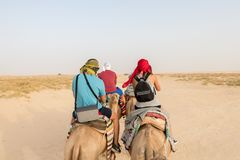Tourists on camels in the Sahara Desert royalty free stock image