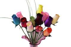 Douzaine de roses en bois Photographie stock