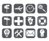 Douze icônes de voyage Illustration Libre de Droits