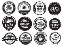 Douze insignes extensibles de vintage illustration de vecteur