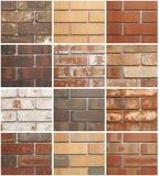 Douze variations de brique Photo stock