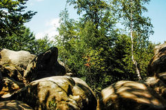 Dovbush岩石在Bubnyshche 免版税库存照片