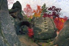 Dovbush Rocks in Bubnyshche Royalty Free Stock Photo