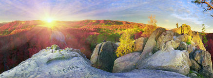 Dovbush Rocks in Bubnyshche Royalty Free Stock Photography