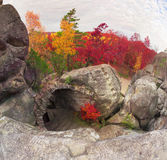 Dovbush Rocks in Bubnyshche Stock Photos