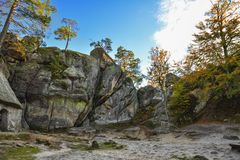 Dovbush rocks, group of rocks, natural and man-made caves carved royalty free stock photos