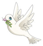 Dove. Illustration of a cartoon dove with an olive branch stock illustration