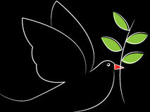 Dove. Simple line art of peace dove on black background royalty free illustration