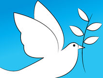 Dove. Simple line art of peace dove on sky blue background royalty free illustration