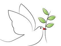 Dove. Simple line art of peace dove vector illustration