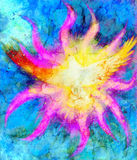 Dove on abstract background in light flame. Painting and graphic design. Stock Images