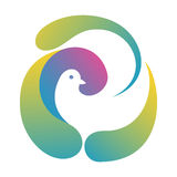 Dove In Abstract Nest Logo Template. Illustration with stylized dove made by abstract forms, like bird nest, symbolizing peace and health care. Useful for logo Stock Photography