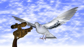Dove in the air with wings wide against a gun Royalty Free Stock Image