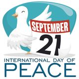 Dove And Calendar With Reminder Date For Day Of Peace, Vector Illustration Stock Images