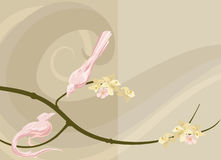 Dove background. Abstract illustrated background featuring doves on a flowering branch stock illustration