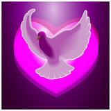 The dove on the background of hearts. Royalty Free Stock Photography