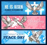 Dove bird banner for wedding and religion design. White dove bird sketch banner set for wedding ceremony, Easter religion holiday and World Peace Day template Stock Photos