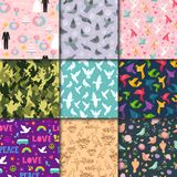Dove birds seamless pattern different style birdie vector illustration of cartoon flying animal silhouette background. Stock Image