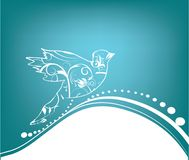 Dove on blue background. Flowers ,dove on blue background Stock Images