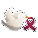 Dove with breast cancer symbol in the beak Royalty Free Stock Photography