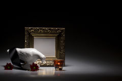 Dove, candle and frame Stock Photo