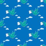Dove carrying envelope pattern repeat seamless in blue color for any design.Bird delivers a message. Post pigeon. Dove carrying envelope pattern repeat seamless Royalty Free Stock Photography