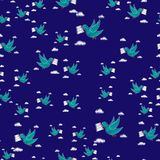 Dove carrying envelope pattern repeat seamless in blue color for any design.Bird delivers a message. Post pigeon. Dove carrying envelope pattern repeat seamless Royalty Free Stock Photos