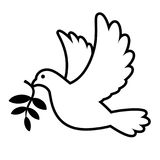Dove carrying olive branch. White dove carrying olive branch graphic illustration royalty free illustration
