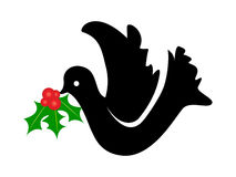 Dove with christmas flower. Silhouette of dove with christmas flower Royalty Free Illustration