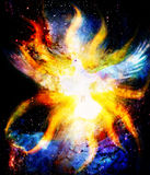 Dove in cosmic space and light flame. Painting and graphic design. Stock Photography
