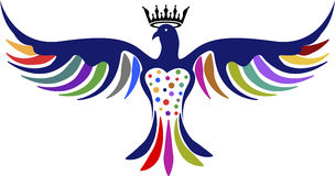 Dove crown logo. Illustration art of a dove crown logo with isolated background royalty free illustration