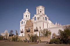 Dove of the Desert. This is a picture of San Xavier del Bac - the Dove of the Desert - just outside of Tucson, Arizona.  This is an old Spanish Mission that is Stock Photo