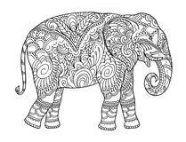 Drawing zentangle elephant, for coloring book for adult or other decorations royalty free illustration