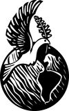 Dove Earth. Woodcut style image of the peace dove with an olive branch over a globe of the earth Royalty Free Stock Photography