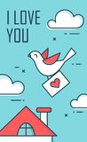 The dove with an envelope in the sky. Saint Valentine Day design greeting card. Flat line style. Stock Photography