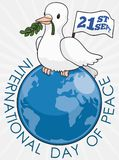 Dove with Flag and Branch over Globe for Peace Day, Vector Illustration Royalty Free Stock Photos
