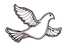 Dove in flight. Ink illustration of a dove in flight. Drawn with bold lines to give a strong impression. Symbolizes strength, purity, peace, freedom, holy spirit stock illustration