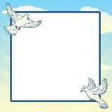 Dove in flight frame design Royalty Free Stock Image