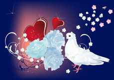 Dove, flowers and red hearts Royalty Free Stock Photo