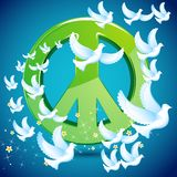 Dove flying around Peace symbol Royalty Free Stock Image