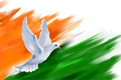 Dove flying on Indian Flag for Indian Republic Day Stock Images